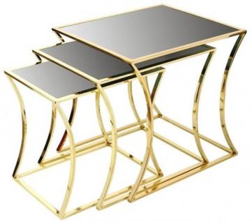 Casa Padrino Luxus Beistelltisch Set Gold / Schwarz - 3 Metall Tische mit Glasplatte - Luxus Möbel