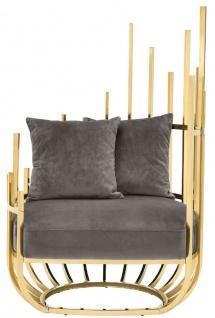 Casa Padrino Designer Sessel rechtsseitig mit 2 Kissen Grau / Gold 91, 5 x 75 x H. 136, 5 cm - Designer Wohnzimmer Möbel - Luxus Qualität - Vorschau 2