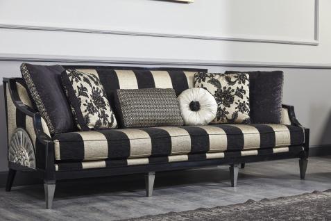 Casa Padrino Luxus Barock Sofa Schwarz / Gold / Silber 244 x 95 x H. 88 cm - Wohnzimmermöbel im Barockstil