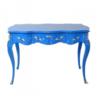 Casa Padrino Barock Schreibtisch Sekretär / Konsole Blau 120 x 60 x H80 cm - Luxus Möbel