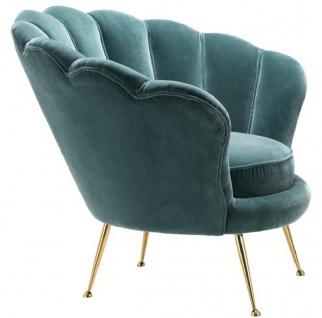 Casa Padrino Designer Wohnzimmer Sessel Dunkeltürkis / Messingfarben 96, 5 x 79 x H. 78 cm - Luxus Wohnzimmermöbel - Vorschau 3