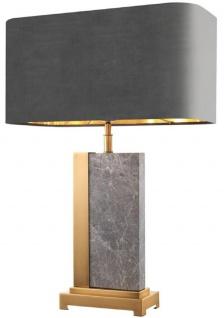 Wohnzimmerlampe Honsel-Leuchten Stoffschirm grau Tischleuchte POSTE antik