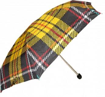 Jean Paul Gaultier Luxus Designer Regenschirm in elegantem Plaid-Muster Mod2 - Taschenschirm