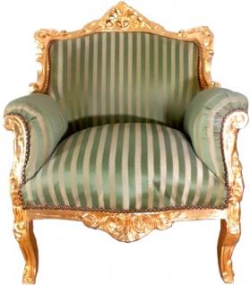 Casa Padrino Barock Sessel Lord Grüne Streifen / Gold 77 x 63 x H. 102 cm - Handgefertigter Wohnzimmer Sessel im Barockstil - Barock Möbel