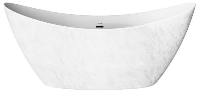 Casa Padrino Freistehende Luxus Acryl Badewanne mit Marmoroptik Weiß 173 x 73 x H. 75 cm - Luxus Bad Accessoires - Luxus Kollektion