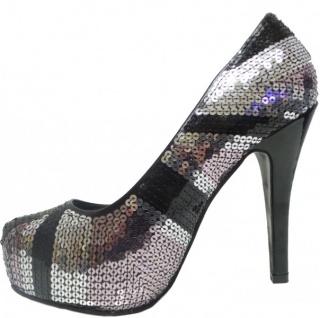 Mermaid High Heels Damen Schuhe Silver/Black - Vorschau 2