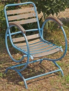 Casa Padrino Jugendstil Gartenstuhl mit Armlehnen Vintage Hellblau / Braun 60 x 45 x H. 85 cm - Handgefertigte Gartenmöbel