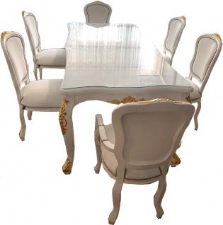 Casa Padrino Luxus Barock Esszimmer Set Weiß / Gold - 1 Esstisch mit Glasplatte & 6 Esszimmerstühle mit Kunstleder - Made in Italy - Luxury Collection