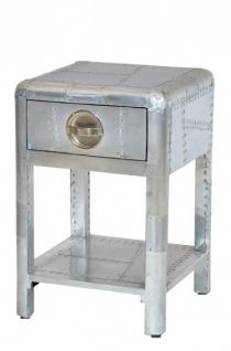 Casa Padrino Luxus Aluminium Nacht Schrank Kommode mit Schubladen - Vintage Flieger Möbel