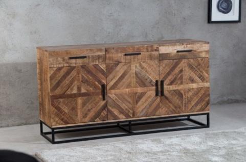 Casa Padrino Luxus Sideboard Naturfarben / Schwarz 160 x 45 x H. 85 cm - Wohnzimmerschrank mit 3 Türen und 3 Schubladen