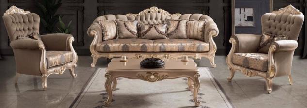 Casa Padrino Luxus Barock Wohnzimmer Set Taupe / Bronze / Gold - 2 Sofas & 2 Sessel & 1 Couchtisch - Wohnzimmer Möbel im Barockstil - Edel & Prunkvoll