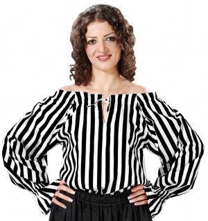 Anne Bonney Striped Piraten Bluse - Black - White