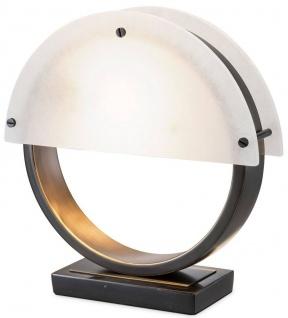 Casa Padrino Designer Tischleuchte Bronze / Alabaster 30 x 10 x H. 30, 5 cm - Moderne Schreibtischleuchte mit Marmorsockel und 2 halbrunden Alabaster Lampenschirmen - Designer Leuchten