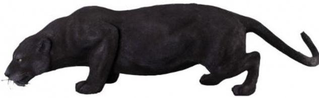 Casa Padrino Dekofigur Puma Katze Schwarz 134 x H. 40 cm - Wetterbeständige Deko Skulptur - Wohnzimmer Deko - Garten Deko - Deko Tierfigur