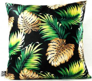 Casa Padrino Luxus Kissen San Francisco Palm Leaves Schwarz / Mehrfarbig 45 x 45 cm - Feinster Samtstoff - Wohnzimmer Deko Accessoires