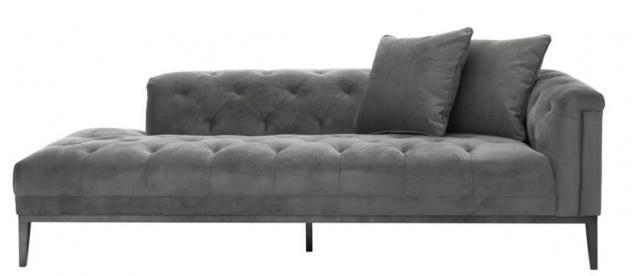 Casa Padrino Luxus Sofa Dunkelgrau Rechtsseitig 220 x 96 x H. 66 cm - Hotel Möbel