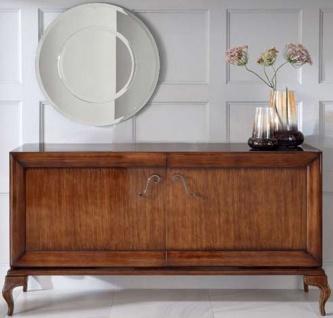 Casa Padrino Luxus Neoklassik Kommode mit 2 Türen Braun 187 x 52 x H. 95 cm - Massivholz Sideboard - Art Deco Wohnzimmer Möbel