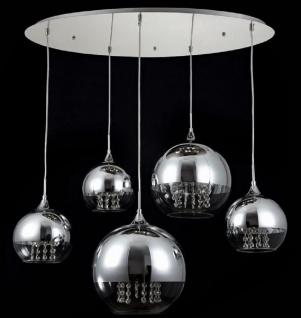 Casa Padrino Hängeleuchte Silber Ø 91 x H. 95 cm - Hängelampe mit runden Lampenschirmen und feinsten Kristall Behängen - Vorschau 2