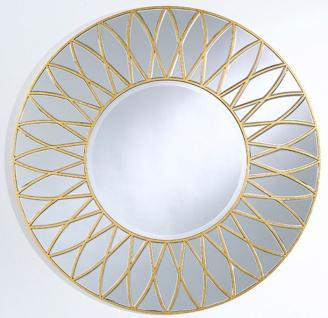 Casa Padrino Luxus Spiegel mit Blütenblatt Motiv Gold Ø 100 cm - Luxus Qualität