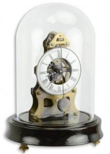 Casa Padrino Jugendstil Tischuhr mit Glasglocke Schwarz / Messingfarben Ø 13 x H. 18, 7 cm - Dekorative Schreibtischuhr - Deko Accessoires
