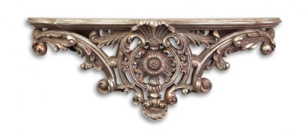 Casa Padrino Designer Barock Wandkonsole Antik Silber - Hotel Möbel