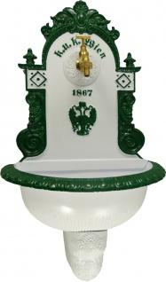 Casa Padrino Jugendstil Wandbrunnen Weiß / Grün / Weiß H. 72 cm - Nostalgischer Gartendeko Brunnen mit Wasserhahn - Garten Accessoires
