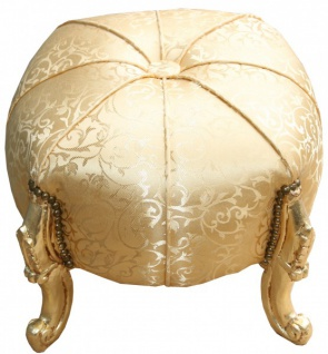 Casa Padrino Barock Sitzhocker- Rundhocker- Gold Muster/ Gold- Barock Möbel - Vorschau 2