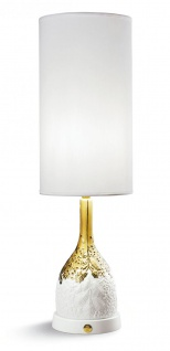 Casa Padrino Luxus Tischleuchte Porzellan Weiß / Gold H53 x 17 cm - Luxus Beleuchtung Tischlampe