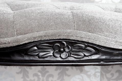 Casa Padrino Barock Sitzbank Silbergrau / Schwarz Breite 115 cm, Höhe 45 cm - Antik Stuhl - Vorschau 3