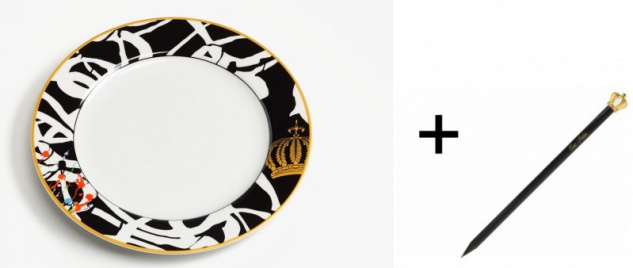 Harald Glööckler Porzellan Teller 19 cm Mod1 + Luxus Bleistift Casa Padrino - Barock Dekoration