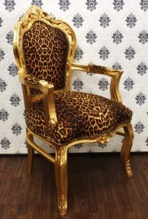 Casa Padrino Barock Esszimmer Stuhl Leopard / Gold mit Armlehnen