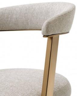 Casa Padrino Designer Stuhl mit Armlehnen Naturfarben / Messingfarben 53, 5 x 49 x H. 78 cm - Esszimmerstuhl - Bürostuhl - Designermöbel - Vorschau 4