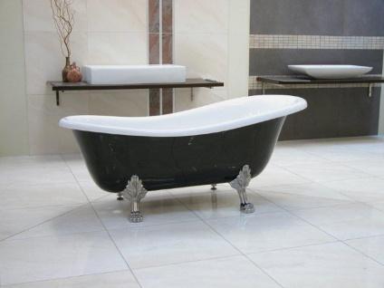 Freistehende Luxus Badewanne Jugendstil Roma Schwarz/Weiß/Chrom 1470mm - Barock Antik Badezimmer - Vorschau 3