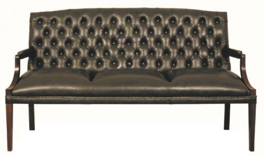 Casa Padrino Chesterfield Echtleder 3er Sitzbank mit Armlehnen Schwarz / Dunkelbraun 180 x 60 x H. 100 cm - Luxus Möbel