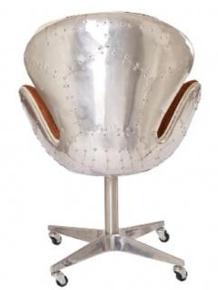 Casa Padrino Designer Bürostuhl Braun / Weiß / Silber 72 x 63 x H. 91 cm - Luxus Büromöbel - Vorschau 4