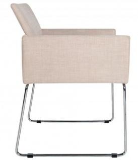 Casa Padrino Designer Stuhl mit Armlehnen Creme 55cm x 80cm x 60cm - Büromöbel - Vorschau 2