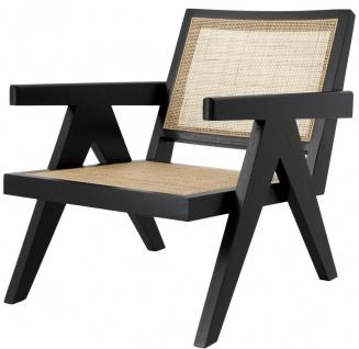 Casa Padrino Designer Stuhl Schwarz / Naturfarben 58 x 82 x H. 70 cm - Massivholz Stuhl mit Armlehnen und handgewebtem Rattangeflecht - Luxus Wohnzimmer Möbel