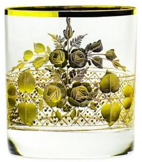 Casa Padrino Luxus Barock Whisky Glas 6er Set Gold Ø 8 x H. 9 cm - Handgefertigte und handgravierte Whiskygläser - Hotel & Restaurant Accessoires - Luxus Qualität
