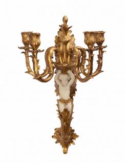 Casa Padrino Barock Wandkerzenhalter Set mit Engel Antik Gold / Creme B.53, 3 x H.32, 7 - Wandleuchter Wand Beleuchtung