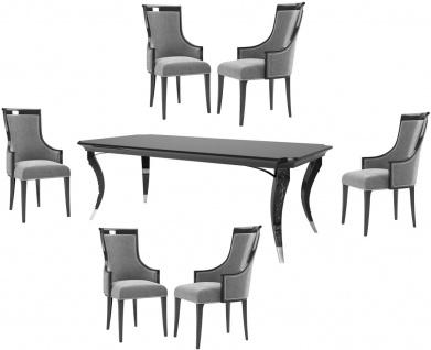 Casa Padrino Luxus Art Deco Esszimmer Set Grau / Schwarz / Silber - 1 Esszimmertisch & 6 Esszimmerstühle - Luxus Qualität - Art Deco Esszimmer Möbel