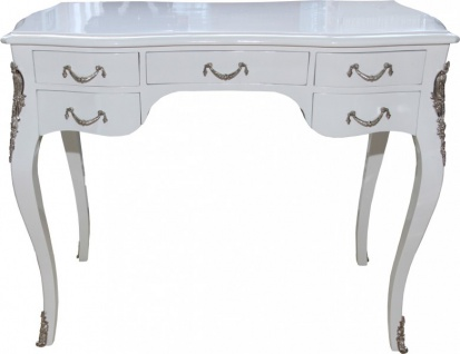 Casa Padrino Luxus Barock Schreibtisch Weiß Hochglanz / Silber 100 x 80 x 58 cm - Sekretär Luxus Möbel