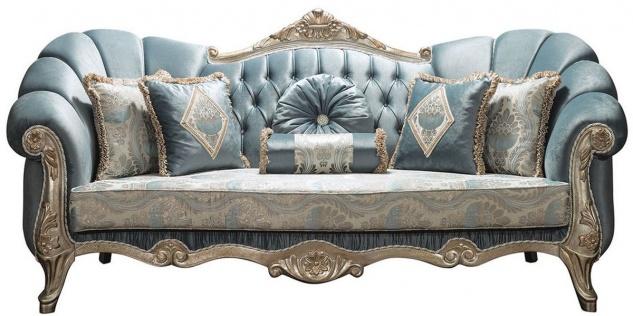 Casa Padrino Luxus Barock Sofa Türkis / Antik Silber 220 x 90 x H. 110 cm - Edles Wohnzimmer Sofa mit Glitzersteinen und dekorativen Kissen - Barock Möbel