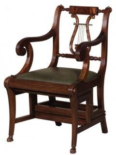 Casa Padrino Barock Leiterstuhl mit Echtleder Dunkelbraun / Grün 61, 3 x 59, 1 x H. 87, 8 cm - Mahagoni Stuhl mit Armlehnen - Barockmöbel