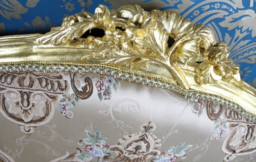 Casa Padrino Barock Sofa Creme Muster / Gold - italienischer Stil - Barock Möbel - Unikat! - Vorschau 3
