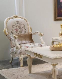 Casa Padrino Luxus Barock Sessel Creme / Weiß / Gold 73 x 60 x H. 111 cm - Prunkvoller Wohnzimmer Sessel mit Blumenmuster und dekorativem Kissen - Barock Wohnzimmer Möbel