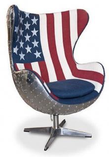 Casa Padrino Designer Drehsessel Silber / USA Design 87 x 77 x H. 116 cm - Wohnzimmer Sessel in Ei Form - Lounge Chair - Aluminium Möbel