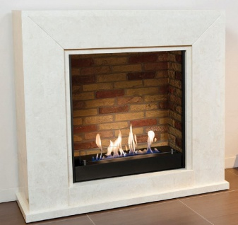 Casa Padrino Luxus Ethanol Kamin mit einem keramischen Bioethanolbrenner Weiß / Mehrfarbig 119 x 36 x H. 101 cm - Naturstein Kamin mit Steindekor