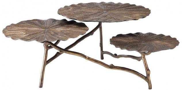 Casa Padrino Designer Couchtisch Antik Messing H. 37 cm - Aluminium Wohnzimmertisch mit 3 Tischplatten - Luxus Wohnzimmer Möbel