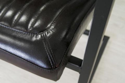 Casa Padrino Vintage Industrial Echtleder Armlehn Stuhl Industriestuhl - ALLE FARBEN - Luxus Sessel Industrie Armlehner Design Möbel Büffelleder - Vorschau 2