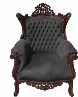 Casa Padrino Barock Wohnzimmer Set Schwarz/Braun - 2er Sofa + 2 Sessel - Limited Edition! - Vorschau 3